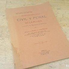Libros antiguos: RESPONSABILIDAD CIVIL Y PENAL DE LA MUJER DURANTE EL PERIODO MENSTRUAL, A. MORENO, TESIS DE 1910. Lote 126019367
