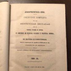Libros antiguos: JURISPRUDENCIA CIVIL-COLECCIÓN COMPLETA DE LAS SENTENCIAS DICTADAS-TOMO XX-1869 (21€). Lote 126180243