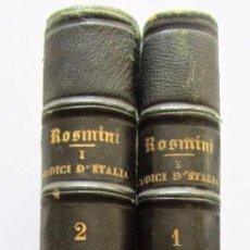 Libros antiguos: I CODICI D´ITALIA PARTE PRIMA E PARTE SECONDA. 1879. MILANO. FRATELLI TREVES, EDITORI, 1880. . Lote 126301011