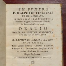 Libros antiguos: IN FUNERE D.IOSEPHI DE FINESTRES ET DE MONSALVO, IURISCONSVLTI BARCINONENSIS,ORATIO HABITA..1778. Lote 127629167