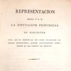Libros antiguos: COMERCIANTES DE BARCELONA. SOBRE PROHIBICIÓN DE INTRODUCIR GRANOS EXTRANJEROS. BARCELONA, 1822 . Lote 127989171