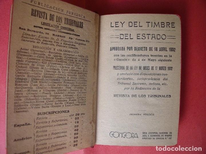 Libros antiguos: LEY DEL TIMBRE DEL ESTADO.-BIBLIOTECA DE BOLSILLO.-REVISTA DE LOS TRIBUNALES.-JUSTICIA.-AÑO 1932. - Foto 2 - 128066343