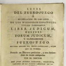 Livros antigos: LEYES DEL FUERO-JUZGO Ó RECOPILACION DE LAS LEYES DE LOS WISI-GODOS ESPAÑOLES... 1792. Lote 128265427