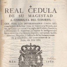 Libros antiguos: REAL CEDULA DE SU MAGESTAD A CONSULTA DEL CONSEJO, QUE FIXA LOS DETERMINADOS CASOS DEL.... Lote 123264016