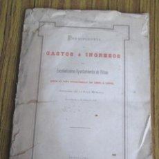 Libros antiguos: PRESUPUESTOS DE GASTOS E INGRESOS DEL EXCELENTÍSIMO AYUNTAMIENTO DE BILBAO 1881 - 1882. Lote 133678182
