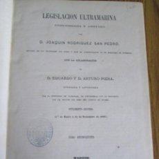 Libros antiguos: LEGISLACION ULTRAMARINA - POR JOAQUÍN RODRÍGUEZ SAN PEDRO - TOMO 15 MADRID 1869. Lote 133687814