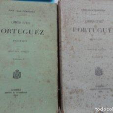 Libros antiguos: CÓDIGO CIVIL PORTUGUÉS ANOTADO - JOSÉ DIAS FERREIRA - SEGUNDA EDICIÓN - 1894 (IV VOLÚMENES). Lote 131376178