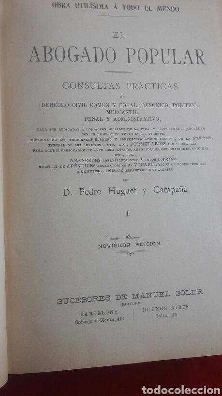 Libros antiguos: El abogado popular Pedro Huguet - Foto 3 - 135301389