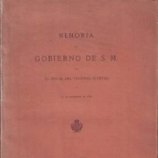 Libros antiguos: ISASA, SANTOS: MEMORIA AL GOBIERNO DE S.M. POR EL FISCAL DEL TRIBUNAL SUPREMO EN 15 DE SEPT. DE 1885. Lote 135301982