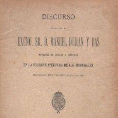 Libros antiguos: DISCURSO DE MANUEL DURÀN Y BAS EN LA APERTURA DE LOS TRIBUNALES (MADRID, 1899). Lote 135825146
