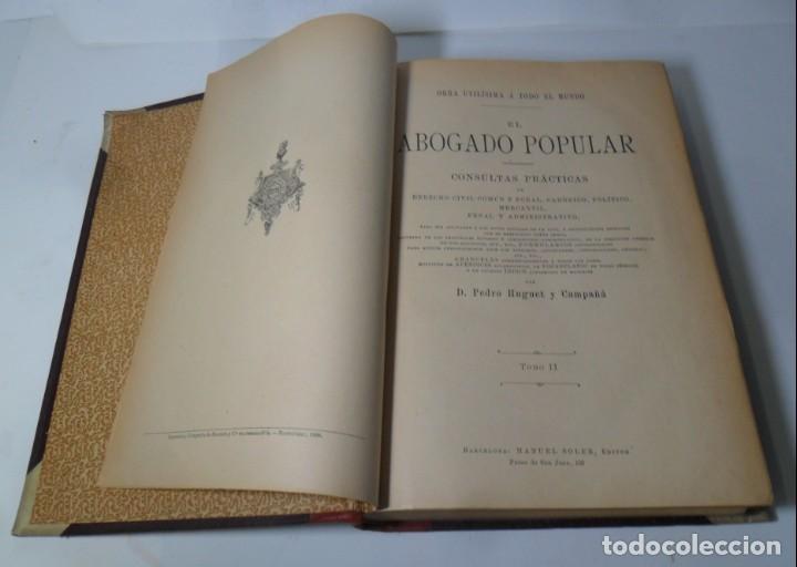 Libros antiguos: EL ABOGADO POPULAR (2 TOMOS) - PEDRO HUGUET Y CAMPAÑA - ED. MANUEL SOLER - 1898 - Foto 3 - 136834166