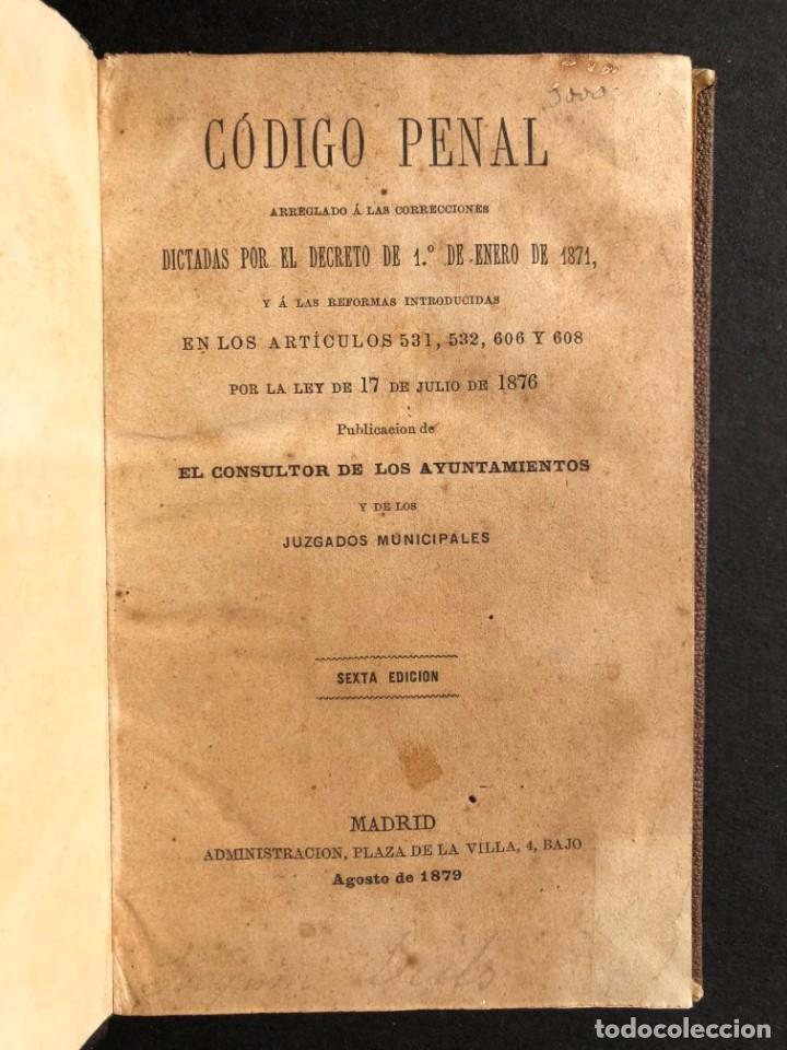 Libros antiguos: 1879 Código penal - Derecho - Legislación - Foto 2 - 138996706