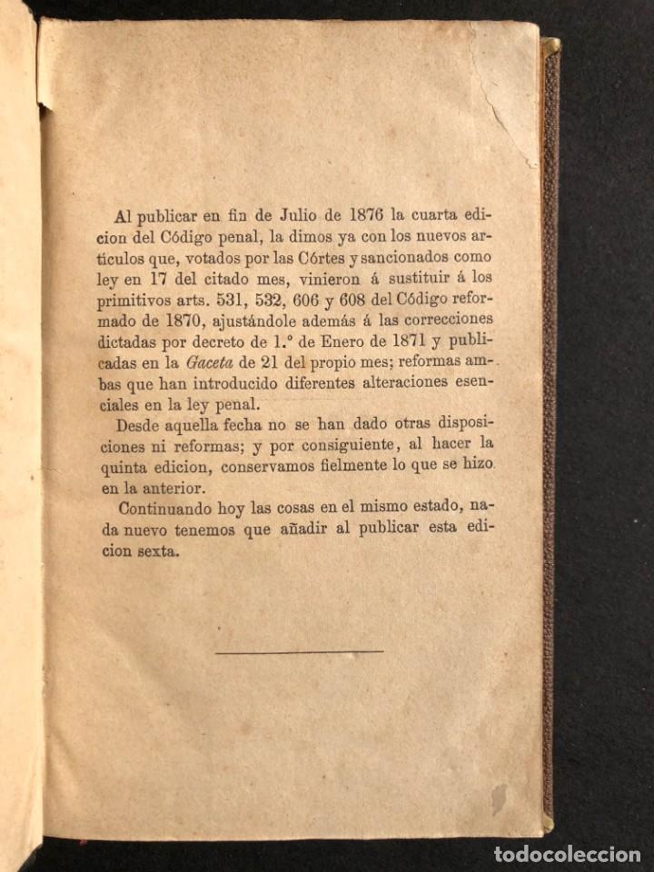 Libros antiguos: 1879 Código penal - Derecho - Legislación - Foto 3 - 138996706