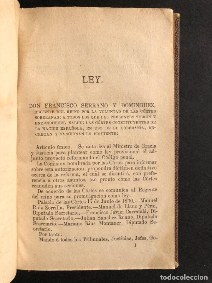 Libros antiguos: 1879 Código penal - Derecho - Legislación - Foto 4 - 138996706