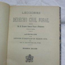 Libros antiguos: 1896. LECCIONES DE DERECHO CIVIL FORAL.. Lote 125386683