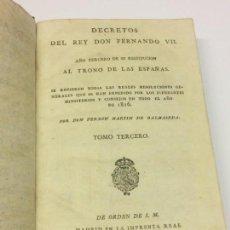 Libros antiguos: AÑO 1817 - MARTÍN DE BALMASEDA. DECRETOS DEL REY DON FERNANDO VII. AÑO TERCERO DE SU RESTITUCIÓN. Lote 139401370