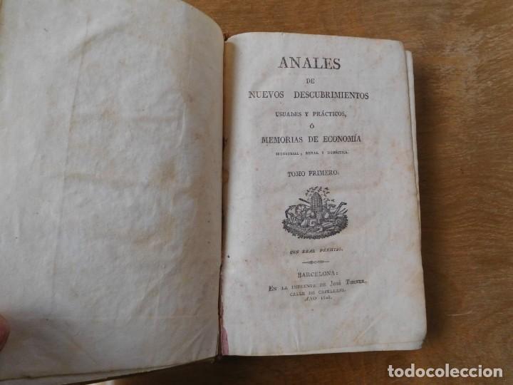 LIBRO ANALES DE NUEVOS DESCUBRIMIENTOS BARCELONA AÑO 1828 (Libros Antiguos, Raros y Curiosos - Ciencias, Manuales y Oficios - Derecho, Economía y Comercio)