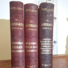 Libros antiguos: EL ABOGADO POPULAR 3 TOMOS. Lote 140893577