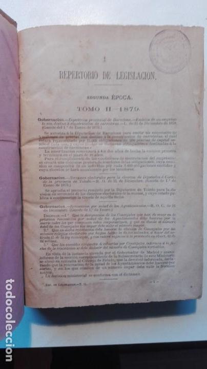 Libros antiguos: REPERTORIO DE LEGISLACIÓN TOMO 2, 1879 - Foto 3 - 142150522
