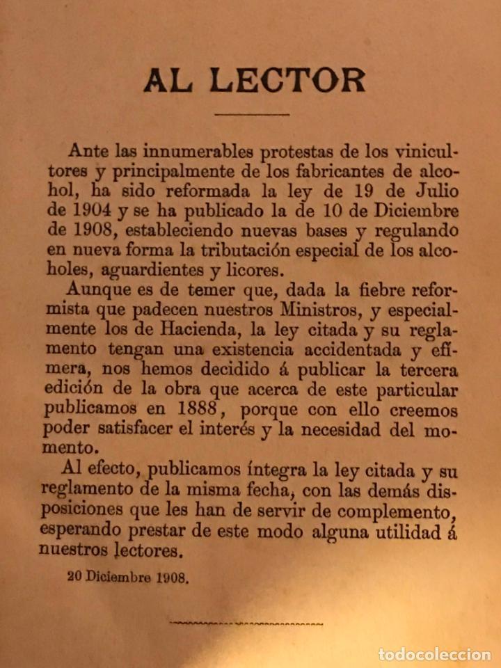 Libros antiguos: Manual de alcoholes. Abella. Tercera edición con la nueva ley de 1908. - Foto 3 - 142156574