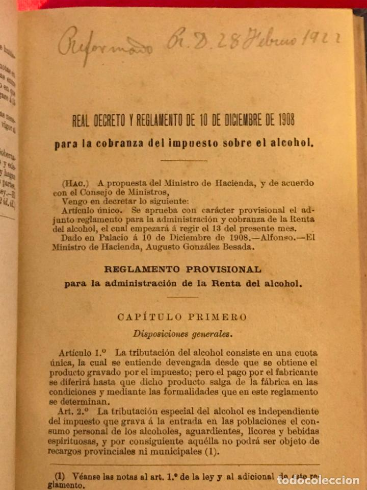 Libros antiguos: Manual de alcoholes. Abella. Tercera edición con la nueva ley de 1908. - Foto 6 - 142156574