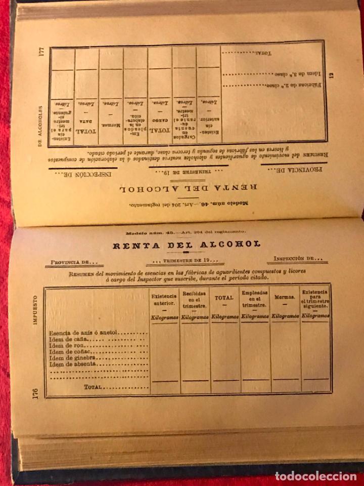 Libros antiguos: Manual de alcoholes. Abella. Tercera edición con la nueva ley de 1908. - Foto 7 - 142156574