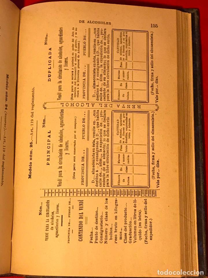 Libros antiguos: Manual de alcoholes. Abella. Tercera edición con la nueva ley de 1908. - Foto 8 - 142156574