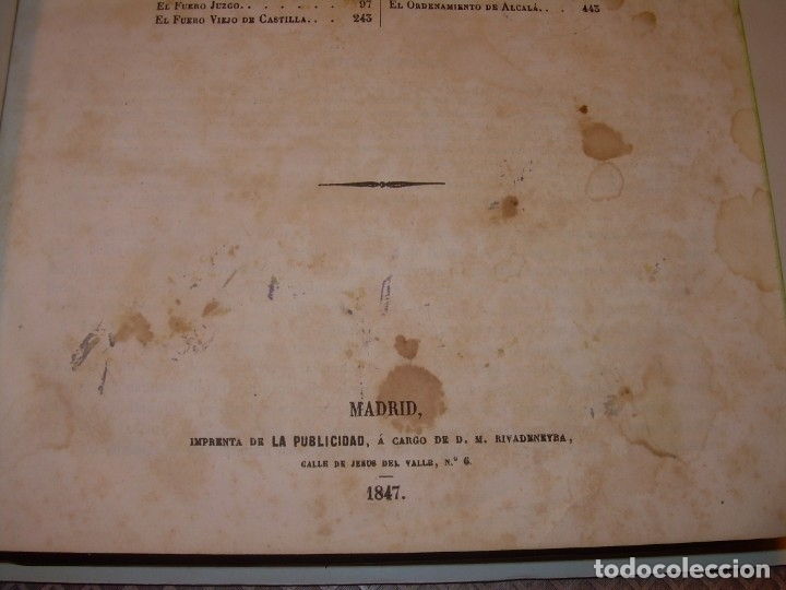 Libros antiguos: LIBRO TAPAS DE PIEL..LOS CODIGOS ESPAÑOLES..AÑO 1847.FUERO DE CASTILLA,ALCALA,FUERO REAL. ETC. - Foto 8 - 142796890