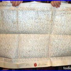Libros antiguos: ENORME MANUSCRITO EN PERGAMINO. SIGLO XIX. 70 X 52 CM. CON SELLO ROJO LACRADO DE LA ÉPOCA. 216 AÑOS.. Lote 143343562