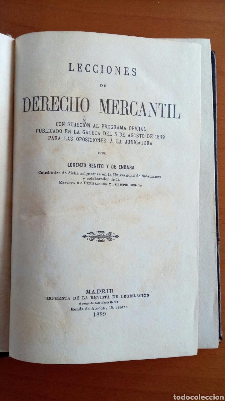 Libros antiguos: Lecciones de derecho mercantil por Lorenzo Benito y de Endara. 1889. - Foto 4 - 144315616