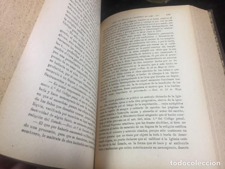 Libros antiguos: El código Penal 1908 dos tomos Juan Antonio Hidalgo García plena piel muy buen estado - Foto 10 - 144395034
