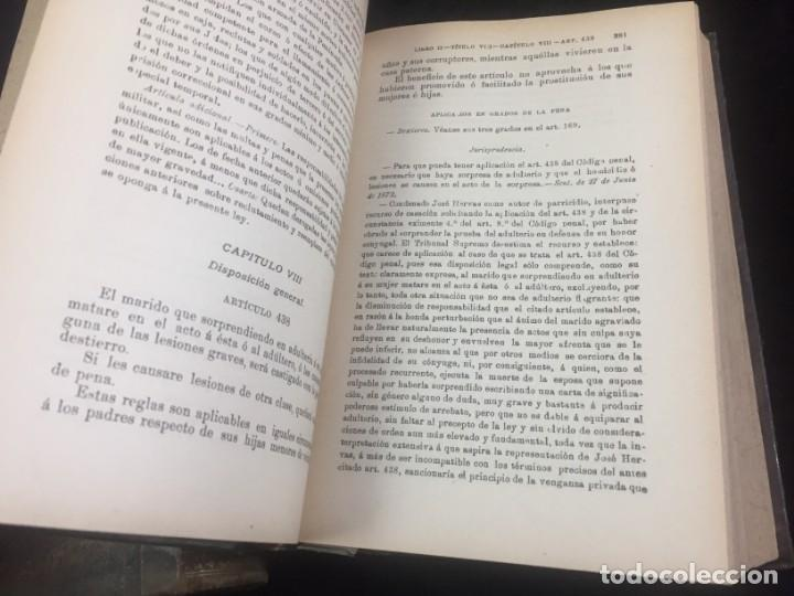 Libros antiguos: El código Penal 1908 dos tomos Juan Antonio Hidalgo García plena piel muy buen estado - Foto 16 - 144395034