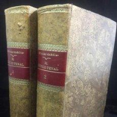 Libros antiguos: EL CÓDIGO PENAL 1908 DOS TOMOS JUAN ANTONIO HIDALGO GARCÍA PLENA PIEL MUY BUEN ESTADO. Lote 144395034