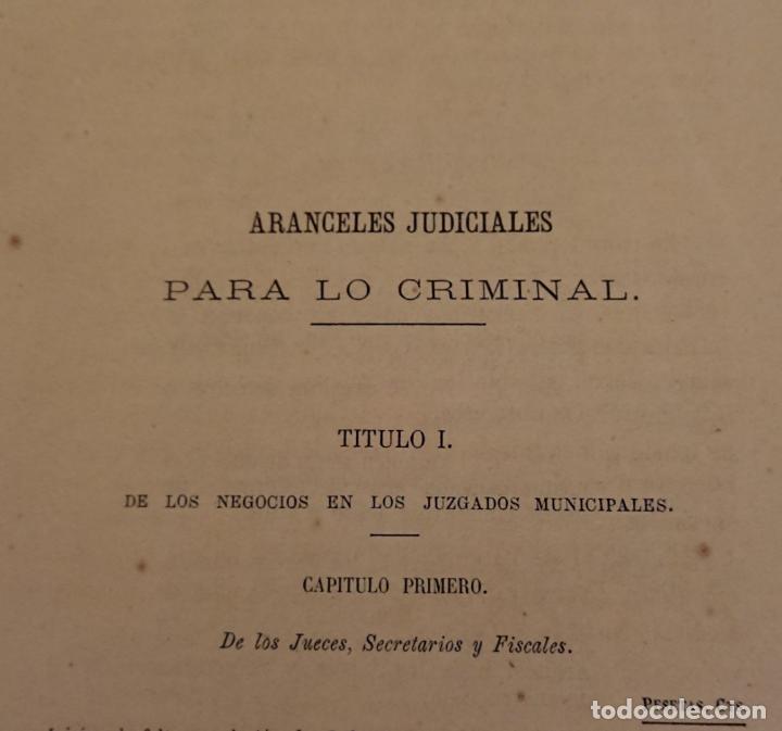 Libros antiguos: El enjuiciamiento criminal 1873 aranceles judiciales, Madrid - Foto 5 - 144517250
