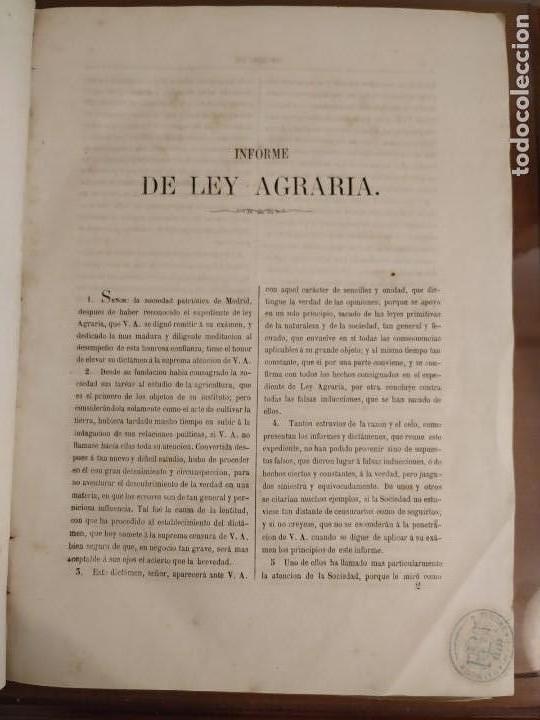 Libros antiguos: INFORME SOCIEDAD ECONÓMICA DE MADRID LEY AGRARIA MELCHOR JOVELLANOS 1866 + REVISTAS REFORMA AGRARIA - Foto 2 - 144583734