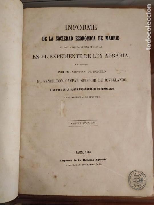 INFORME SOCIEDAD ECONÓMICA DE MADRID LEY AGRARIA MELCHOR JOVELLANOS 1866 + REVISTAS REFORMA AGRARIA (Libros Antiguos, Raros y Curiosos - Ciencias, Manuales y Oficios - Derecho, Economía y Comercio)