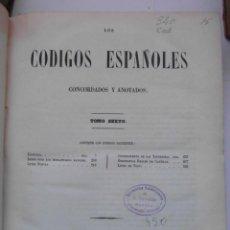 Libros antiguos: CODIGOS ESPAÑOLES CONCORDADOS Y ANOTADOS. TOMO SEXTO. 1849. 567 PAGINAS . 30 X 23 CM. CCTT. Lote 145306102