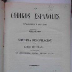 Libros antiguos: CODIGOS ESPAÑOLES CONCORDADOS Y ANOTADOS. TOMO SEPTIMO. NOVISIMA RECOPILACION. 1850. 30 X 23 CM.CCTT. Lote 145306954