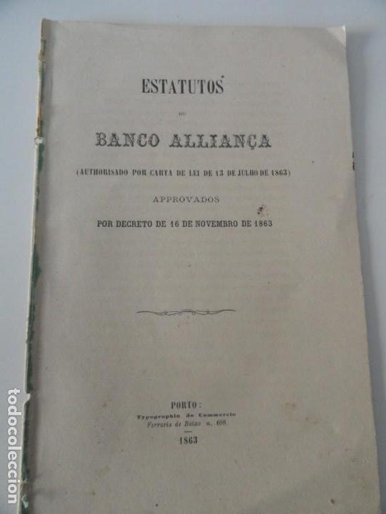 ESTATUTOS DO BANCO DO ALLIANÇA 1863 (Libros Antiguos, Raros y Curiosos - Ciencias, Manuales y Oficios - Derecho, Economía y Comercio)