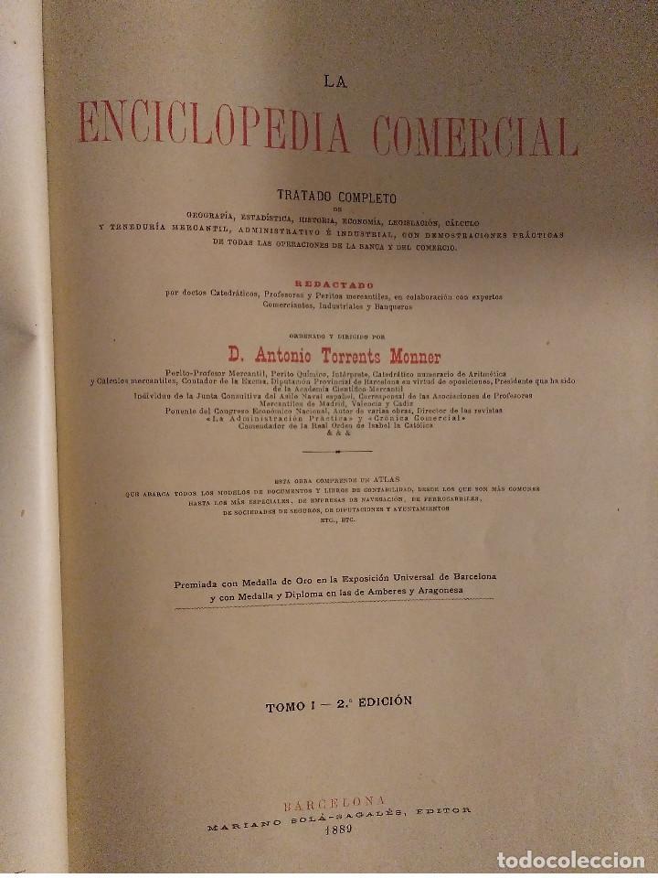 Libros antiguos: ENCICLOPEDIA COMERCIAL TRATADO COMPLETO. 3 TOMOS. ANTONIO TORRENTS MONNER. BARCELONA 1885-88-89. - Foto 2 - 146050594