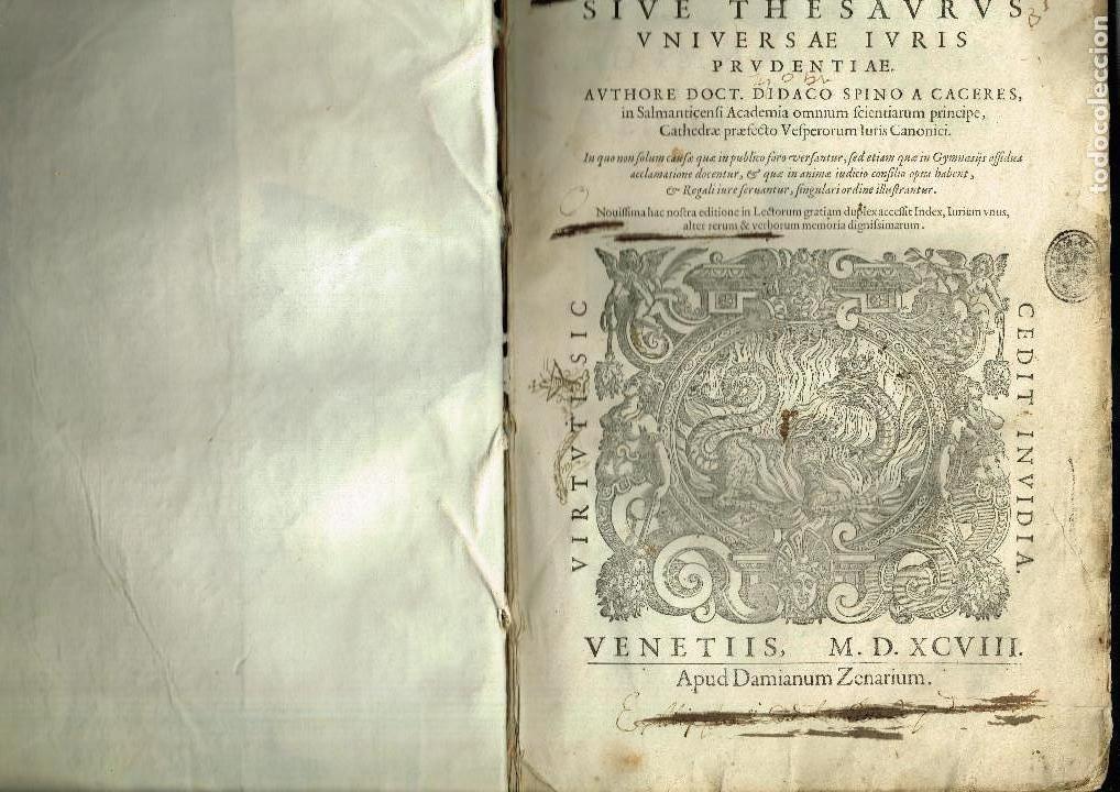 Libros antiguos: SPECULUM TESTAMENTORUM THESAURUS DOCT D.ESPINO DE CÁCERES SALAMANCA ACADEMIA VENETIIS 1598 PERGAMINO - Foto 2 - 146343534