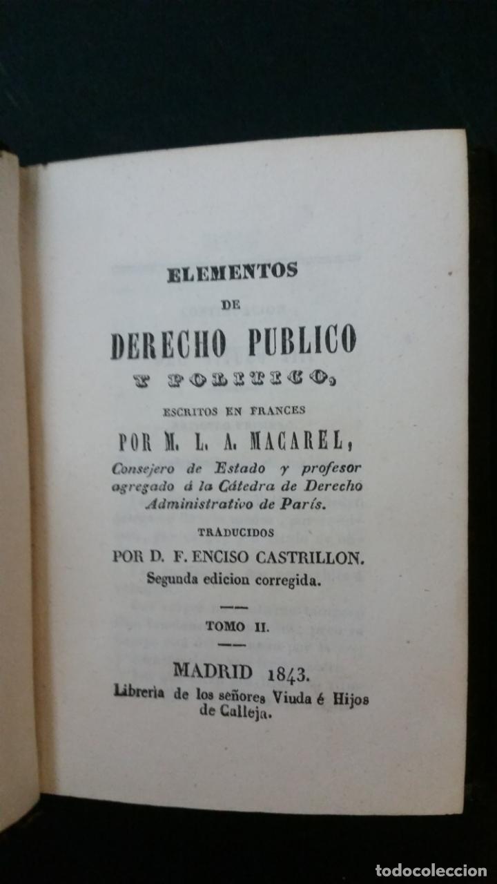 Libros antiguos: 1843 - MACAREL - Elementos de derecho público y político. 2 tomos (obra completa) - Foto 5 - 146502218