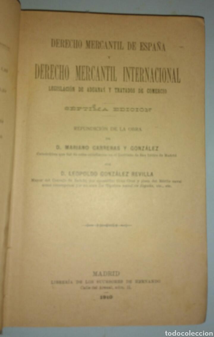 Libros antiguos: Derecho mercantil de España. Derecho mercantil internacional. Carreras y Revilla. 1910 - Foto 3 - 146638034