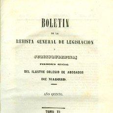 Libros antiguos: BOLETÍN DE LA REVISTA GENERAL DE LEGISLACIÓN Y JURISPRUDENCIA. 11. AÑO QUINTO. Lote 148528670