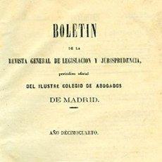 Libros antiguos: BOLETÍN DE LA REVISTA GENERAL DE LEGISLACIÓN Y JURISPRUDENCIA. 26. AÑO DÉCIMOCUERTO. Lote 148533026