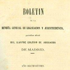 Libros antiguos: BOLETÍN DE LA REVISTA GENERAL DE LEGISLACIÓN Y JURISPRUDENCIA. 33. AÑO DECIMOSÉTIMO. Lote 148533446