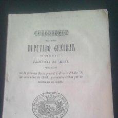 Libros antiguos: M. N. Y M.L. DE ALAVA DISCURSO DIPUTADO GENERAL 1862. Lote 150930446