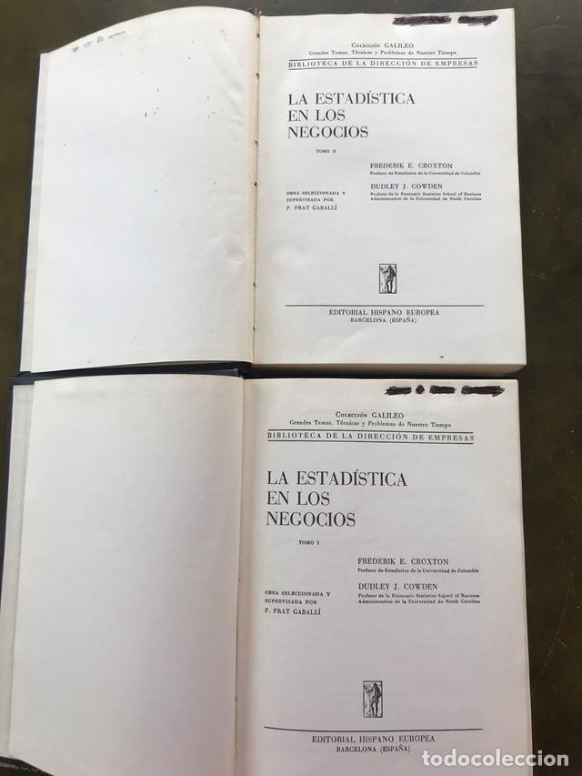 LA ESTADÍSTICA EN LOS NEGOCIOS (Libros Antiguos, Raros y Curiosos - Ciencias, Manuales y Oficios - Derecho, Economía y Comercio)