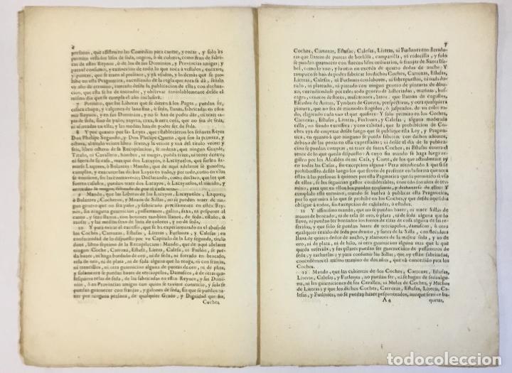 Libros antiguos: PRAGMATICA SANCION que su Magestad manda observar SOBRE TRAGES... 1729 - Foto 2 - 151424358