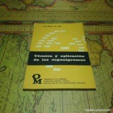 Libros antiguos: TÉCNICA Y APLICACIÓN DE LOS ORGANIGRAMAS. LUIS BLANCO DE TELLA. PRESIDENCIA DEL GOBIERNO. BOE 1973. Lote 151431666